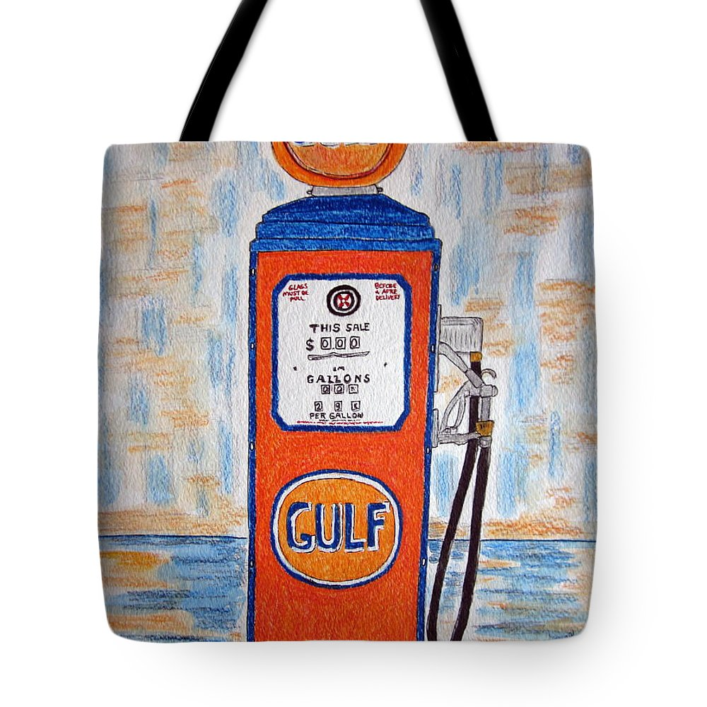 Vintage Tote Bag featuring the painting Gulf Gas Pump by Kathy Marrs Chandler