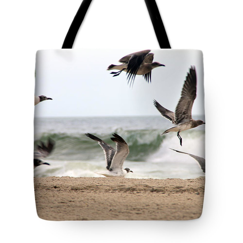 Ocean Tote Bag featuring the photograph Gulls Away by Eric Dimeck