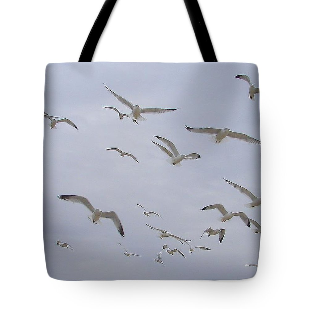 Birds Sky White Tote Bag featuring the photograph Gulls by Luciana Seymour