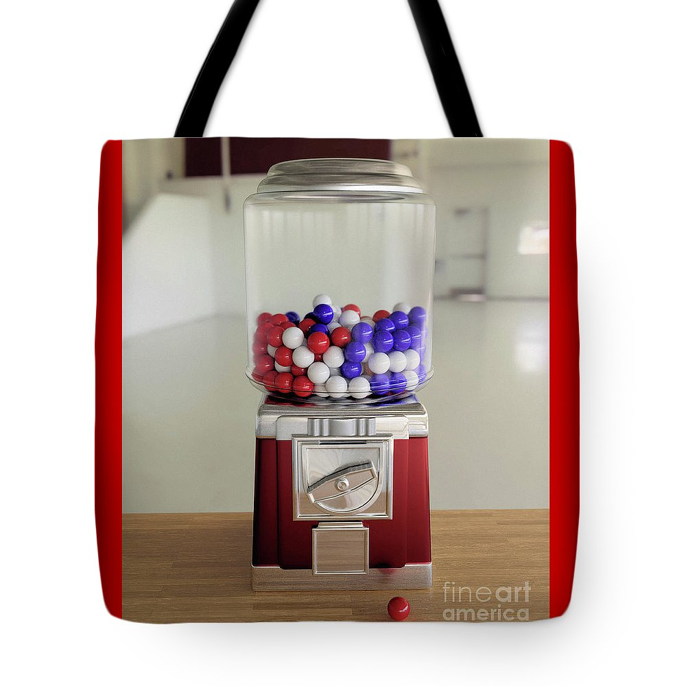 Gumball Tote Bag featuring the digital art Gumball Red White And Blue by Oscar Gallegos