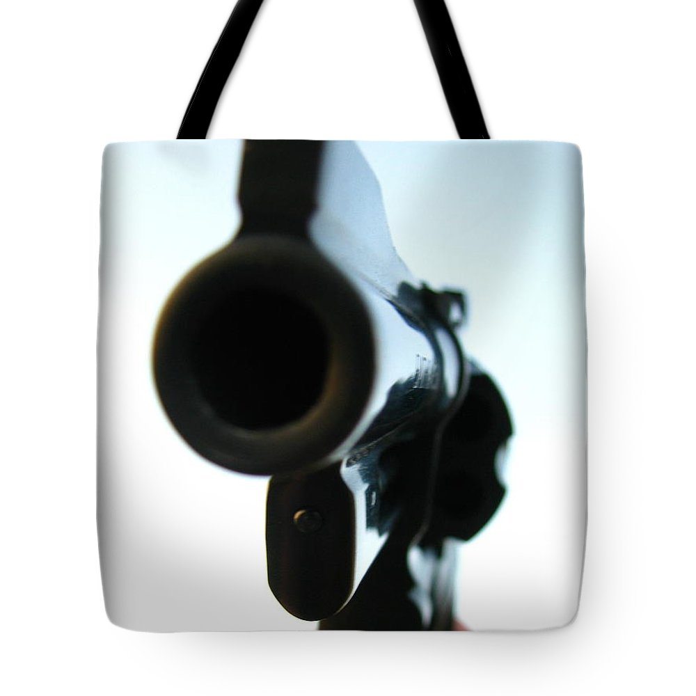 Guns Tote Bag featuring the photograph Gun by Amanda Barcon