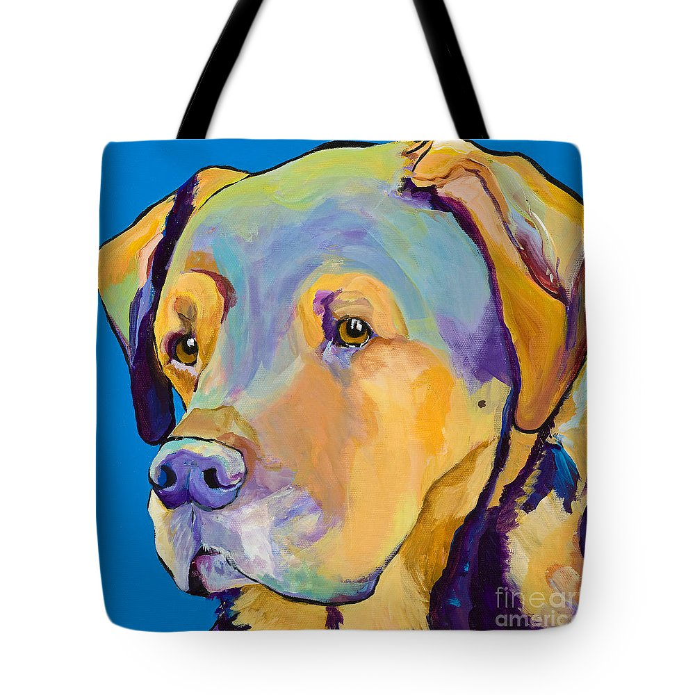 Dog Portrait Tote Bag featuring the painting Gunner by Pat Saunders-White
