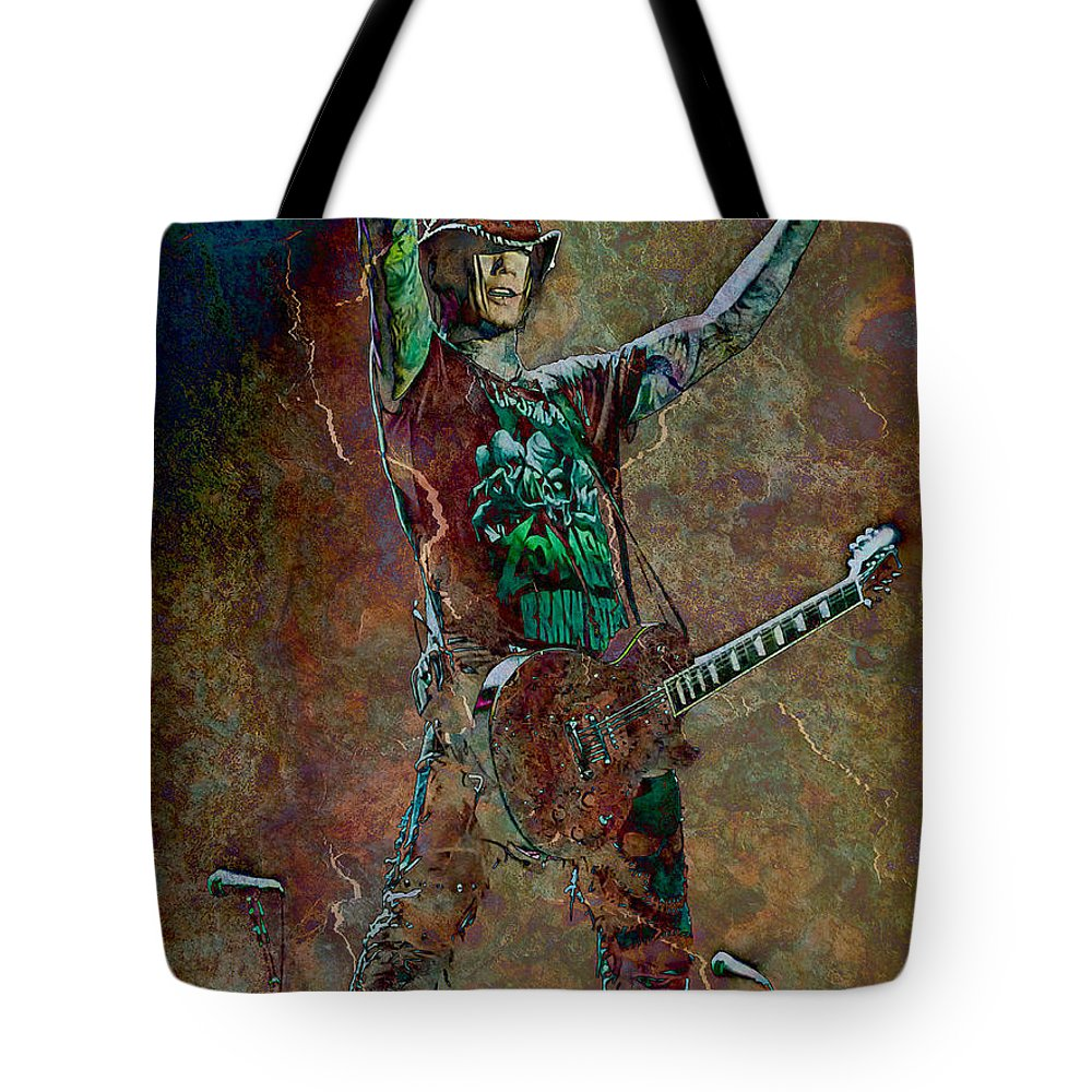 Loriental Tote Bag featuring the photograph Guns N' Roses Lead Guitarist Dj Ashba by Loriental Photography