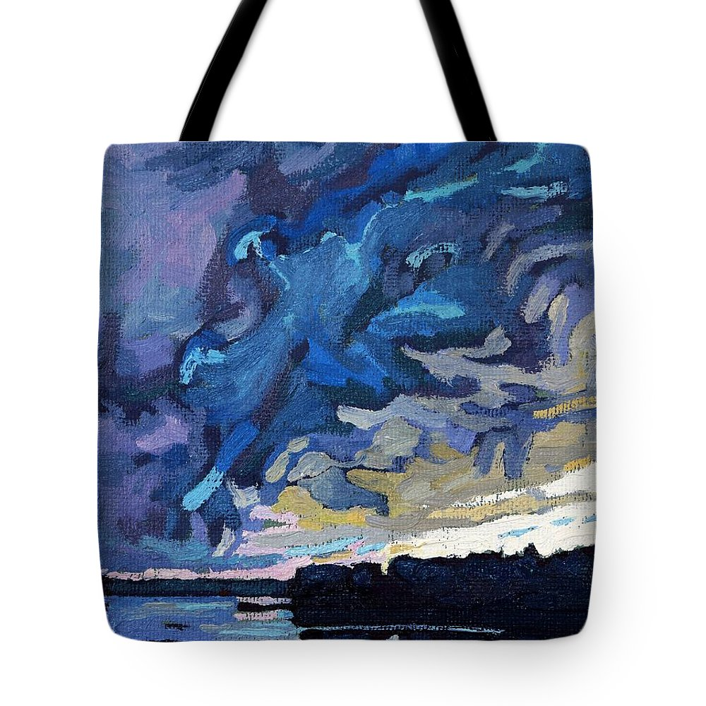 Shelf Tote Bag featuring the painting Gust Front by Phil Chadwick