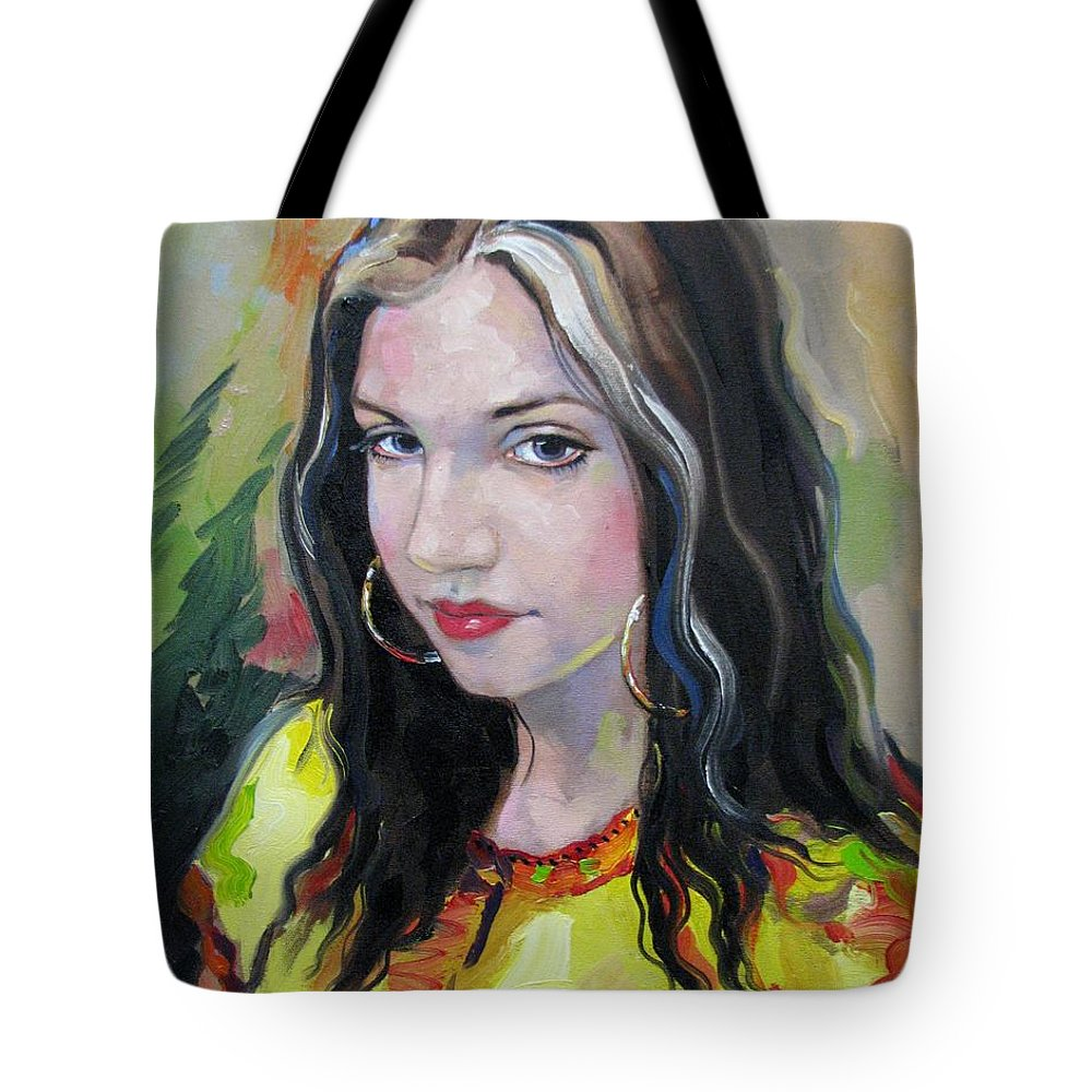 Gypsy Tote Bag featuring the painting Gypsy Girl by Jerrold Carton