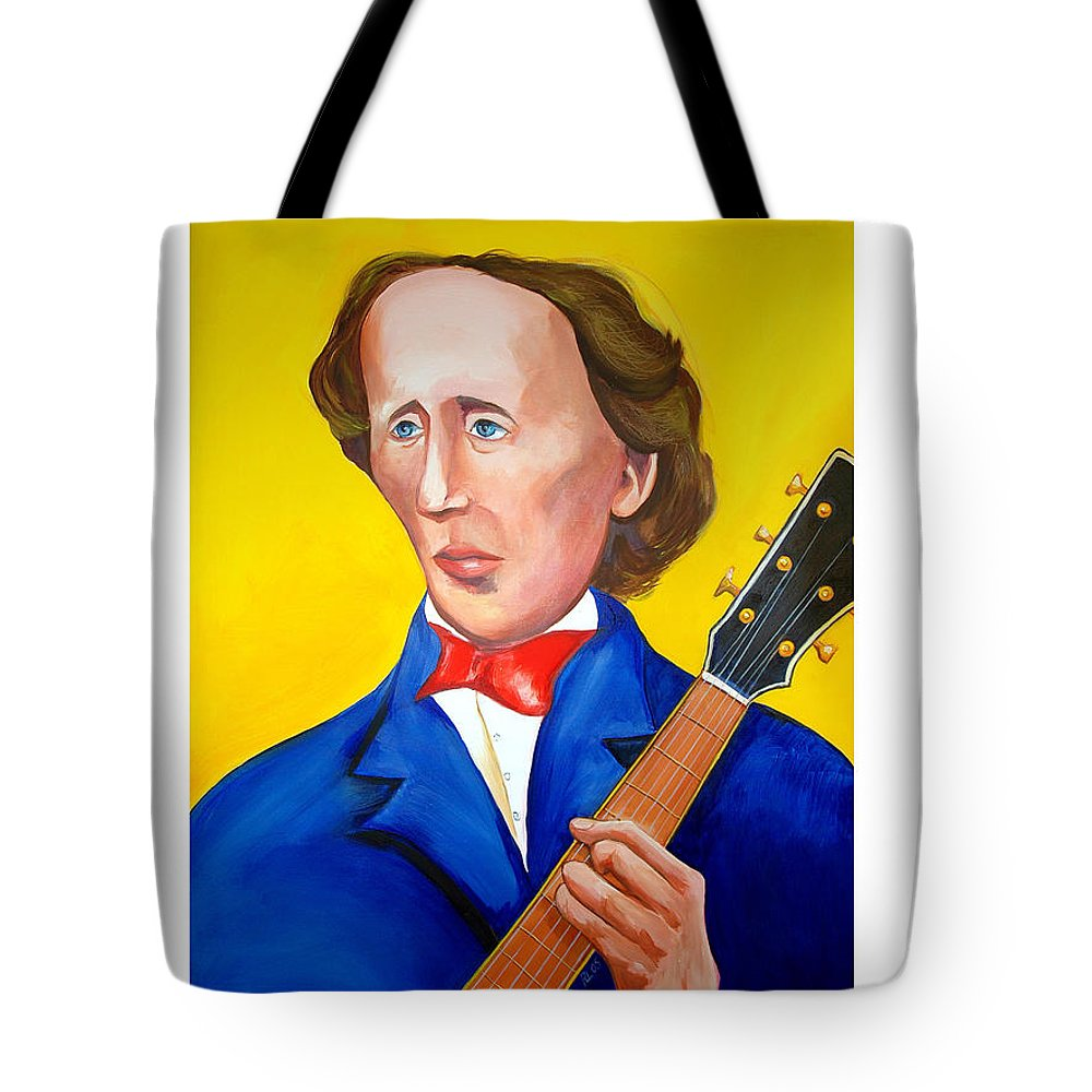 Hans Christian Anderson Tote Bag featuring the painting H C Andersen Rocks by Robert Lacy