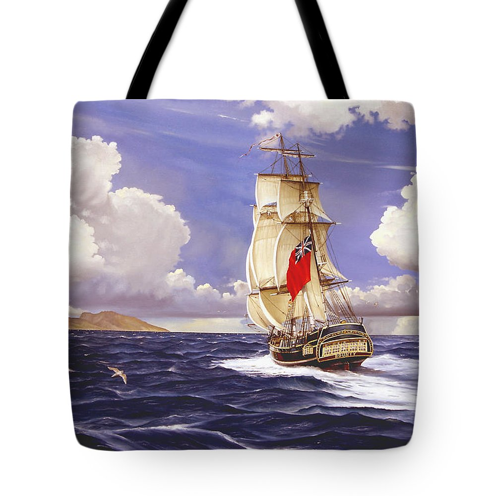 Marine Tote Bag featuring the painting H. M. S. Bounty At Tahiti by Marc Stewart