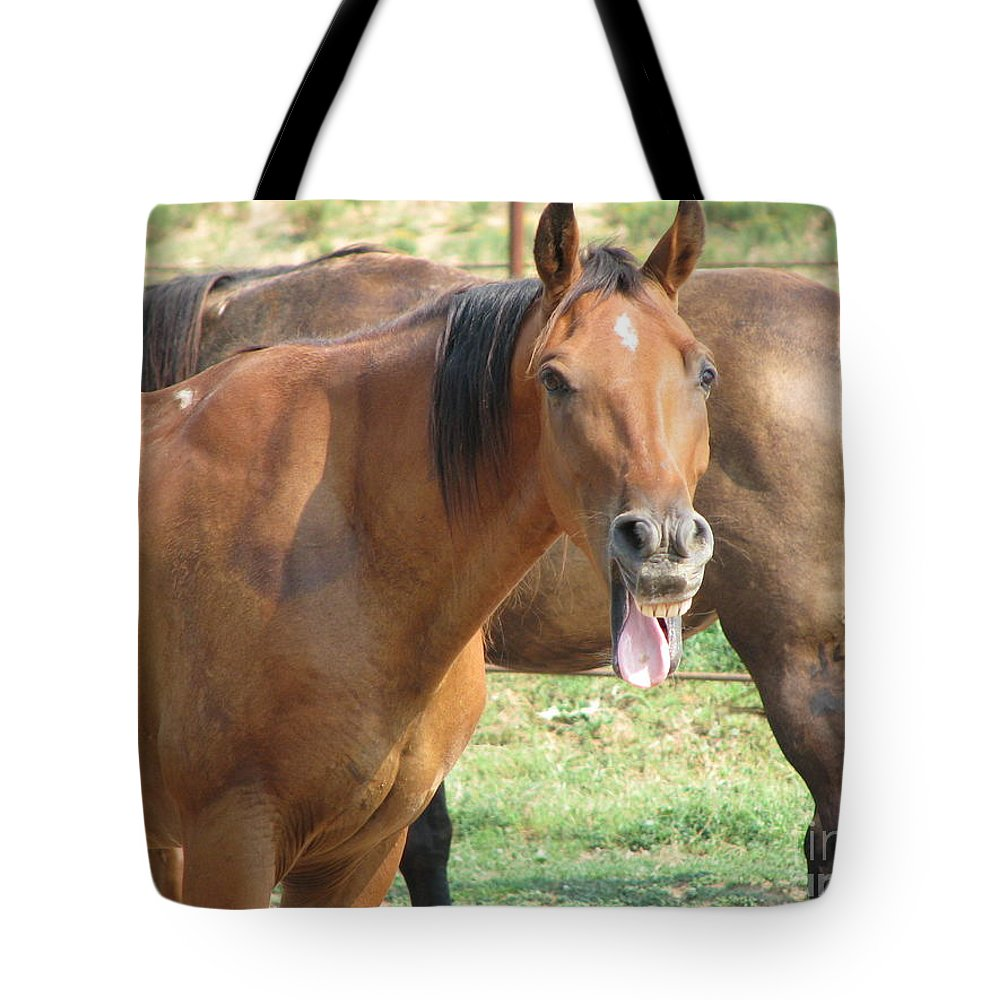 Horse Tote Bag featuring the photograph Haaaaa by Amanda Barcon