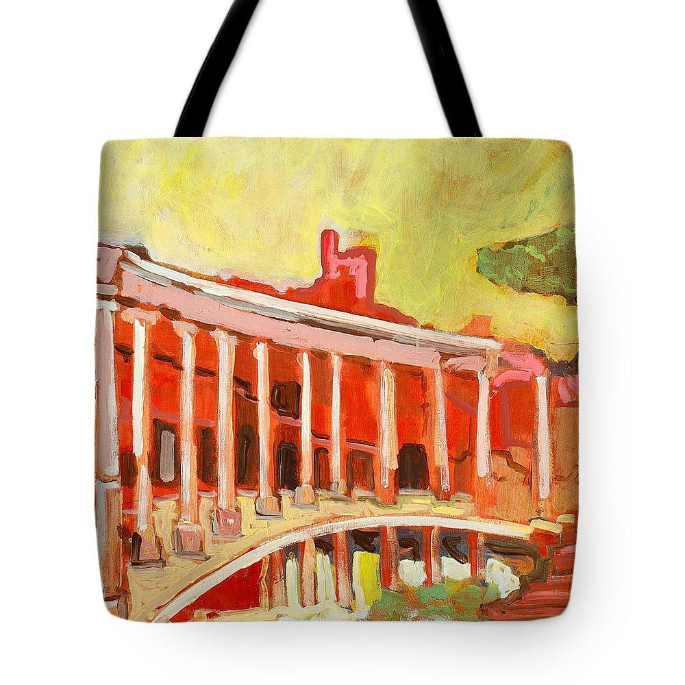 Villa Tote Bag featuring the painting Hadrian's Villa by Kurt Hausmann