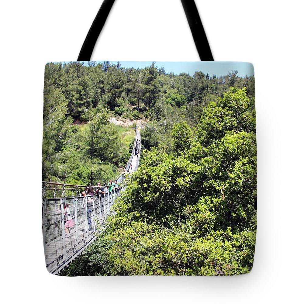Haifa Tote Bag featuring the photograph Haifa Hanging Bridge by Munir Alawi