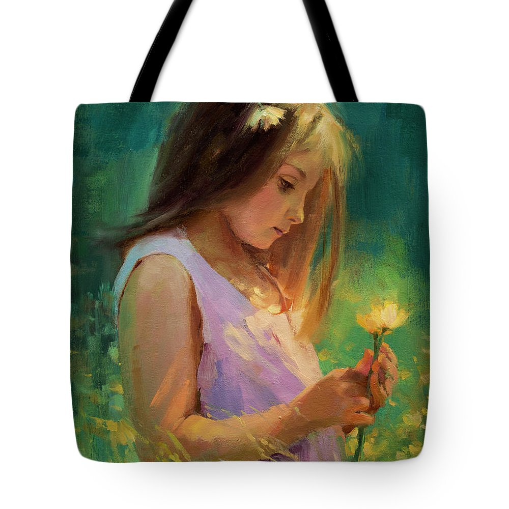 Girl Tote Bag featuring the painting Hailey by Steve Henderson