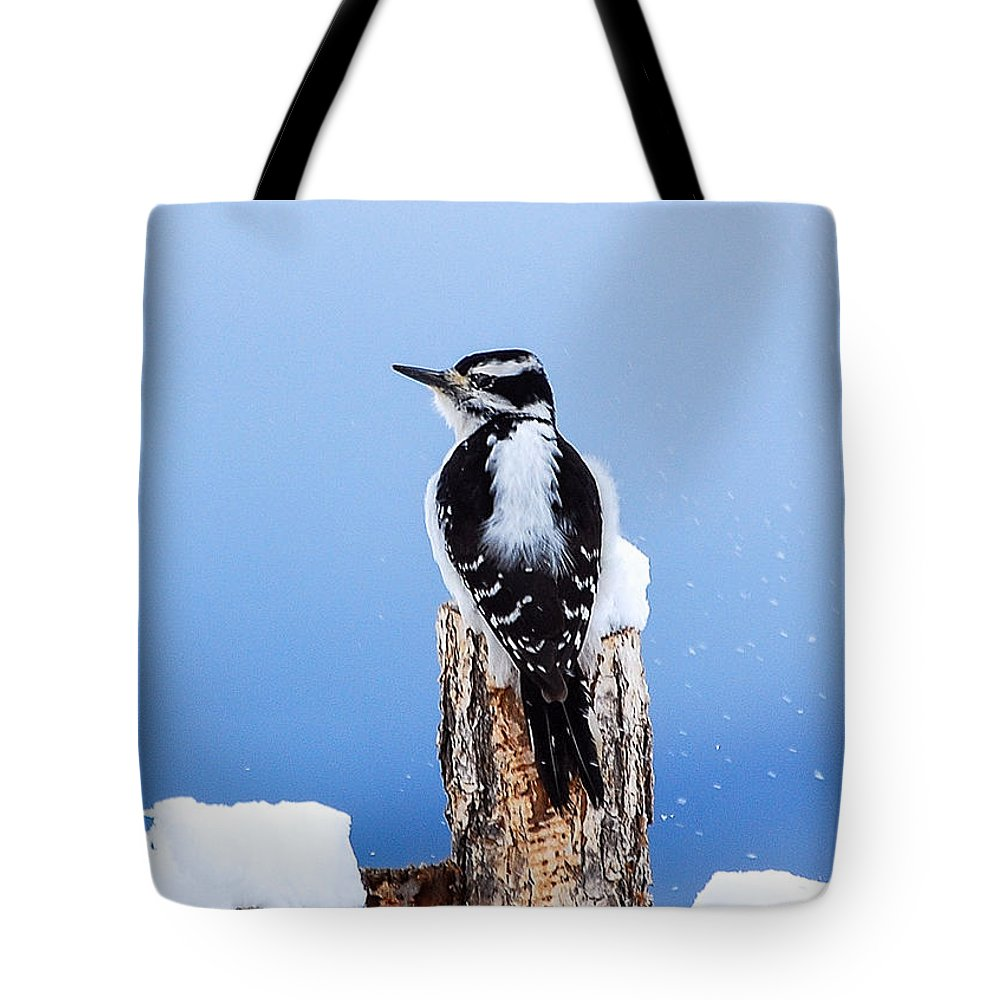 Wildlife Tote Bag featuring the photograph Hairy Woodpecker by Rupert Chambers