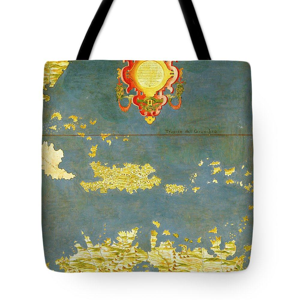 Map Tote Bag featuring the painting Haiti, Dominican Republic, Puerto Rico And French West Indies by Italian painter of the 16th century