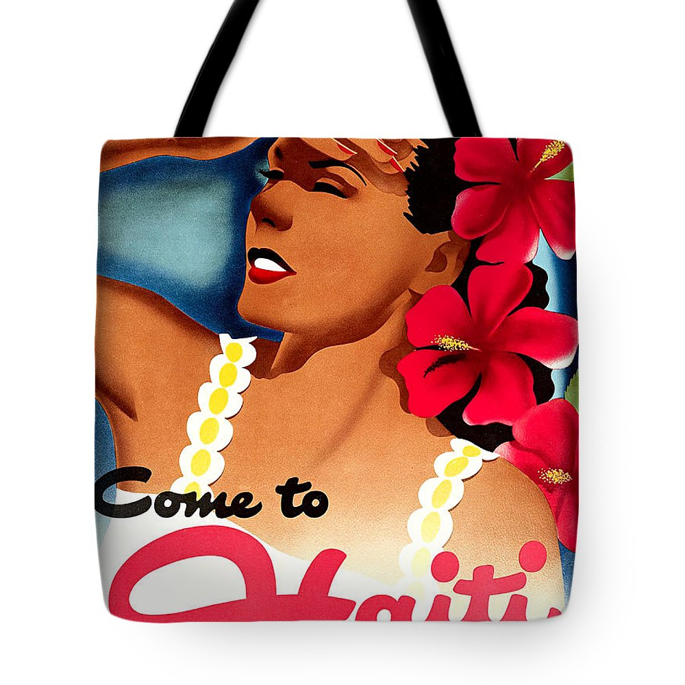 Haiti Tote Bag featuring the painting Haiti, Woman With Exotic Flowers by Long Shot
