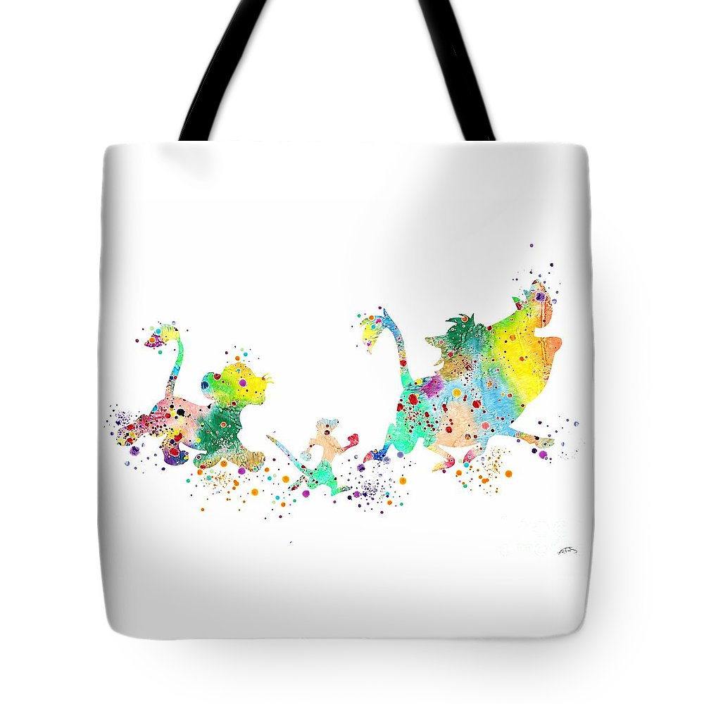 Watercolor Print Tote Bag featuring the digital art Hakuna Matata 3 Watercolor Art Print by Svetla Tancheva