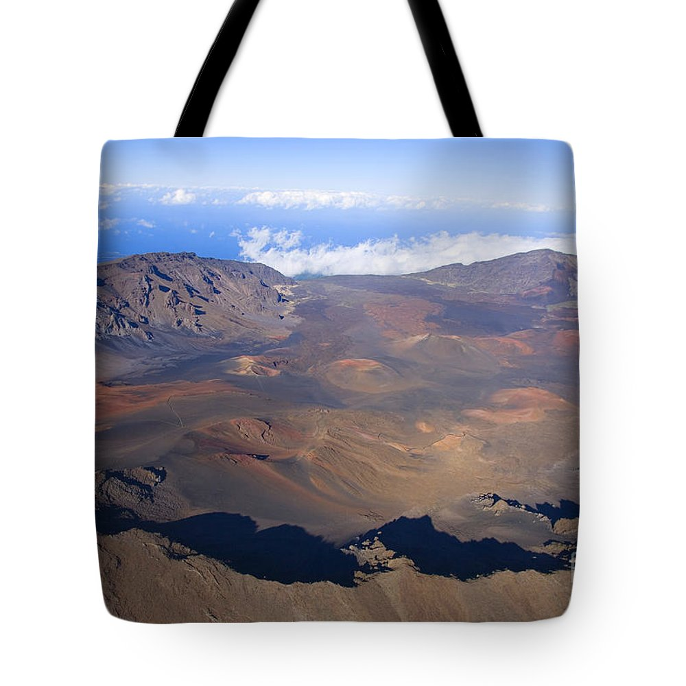 Aerial Tote Bag featuring the photograph Haleakala Crater by Ron Dahlquist - Printscapes