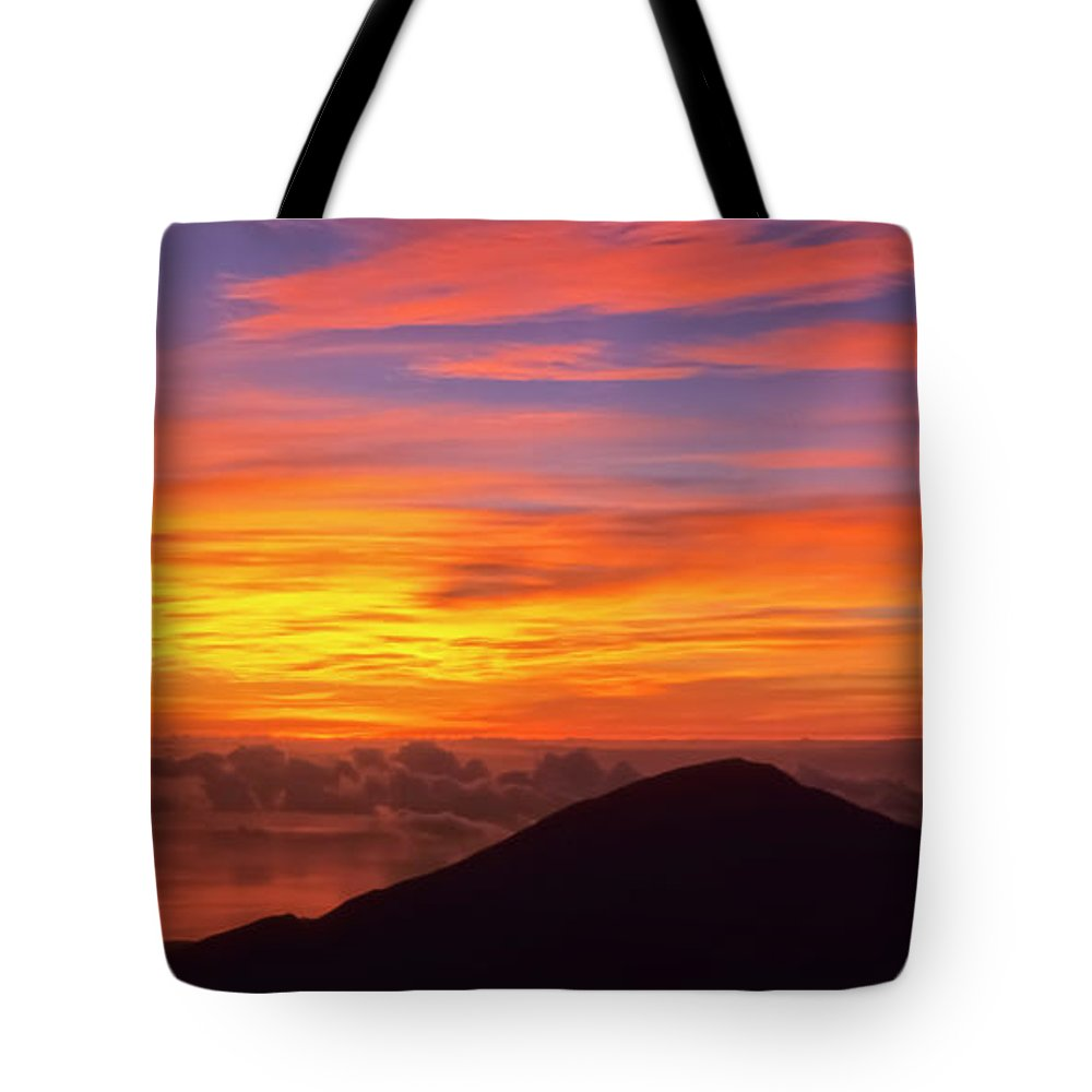Nature Tote Bag featuring the photograph Haleakala Sunrise Colors IIi by Jim Cazel