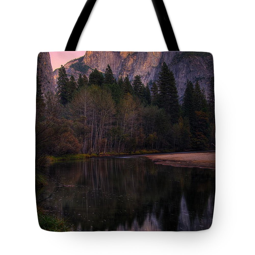 Yosemite Tote Bag featuring the photograph Half Dome At Dusk by Alex Morales
