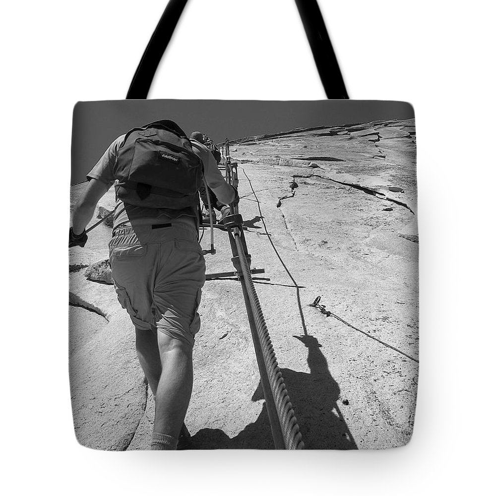Half Dome Tote Bag featuring the photograph Half Dome Cables by Travis Day