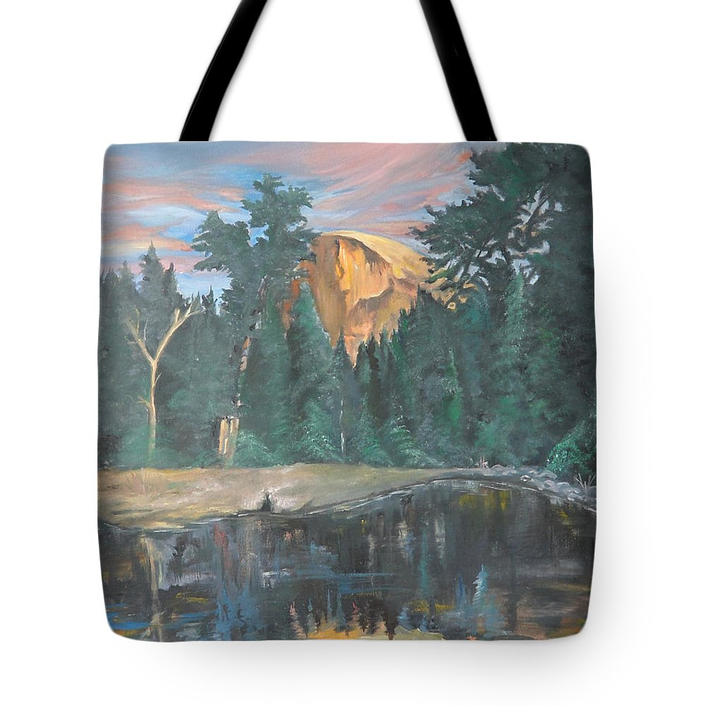 Sunset Tote Bag featuring the painting Half Dome Sunset by Travis Day