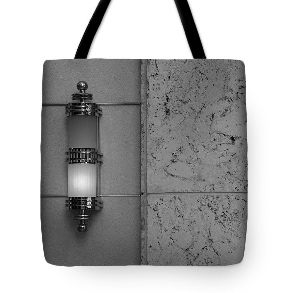 Sconce Tote Bag featuring the photograph Half Lit Wall Sconce by Rob Hans