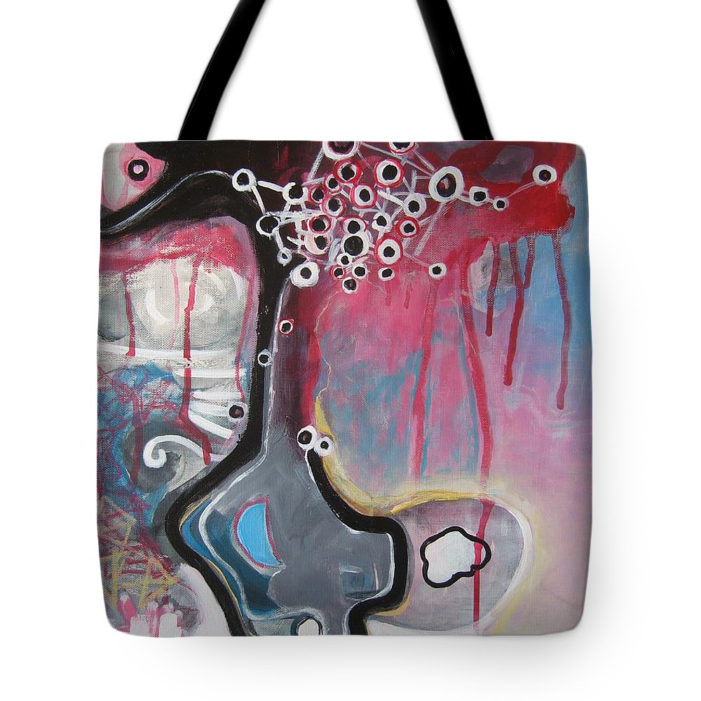 Abstract Paintings Tote Bag featuring the painting Half Moon On Vase by Seon-Jeong Kim