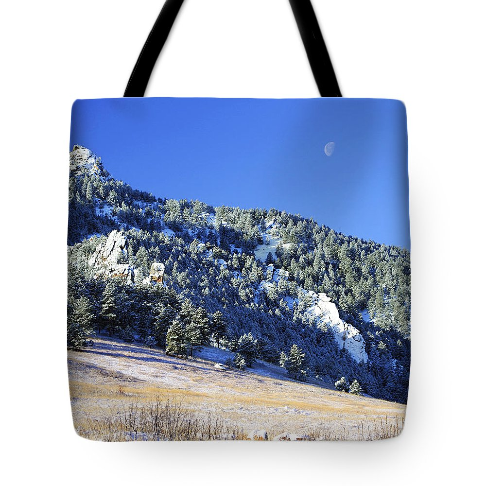 Nature Tote Bag featuring the photograph Half Moon Over The Flatirons by Marilyn Hunt
