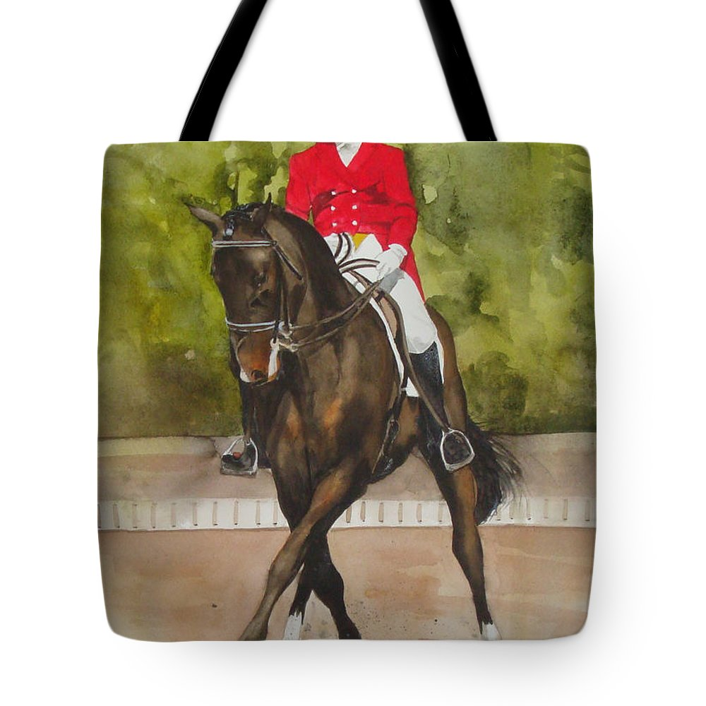 Horse Tote Bag featuring the painting Half-Pass To The Right by Jean Blackmer