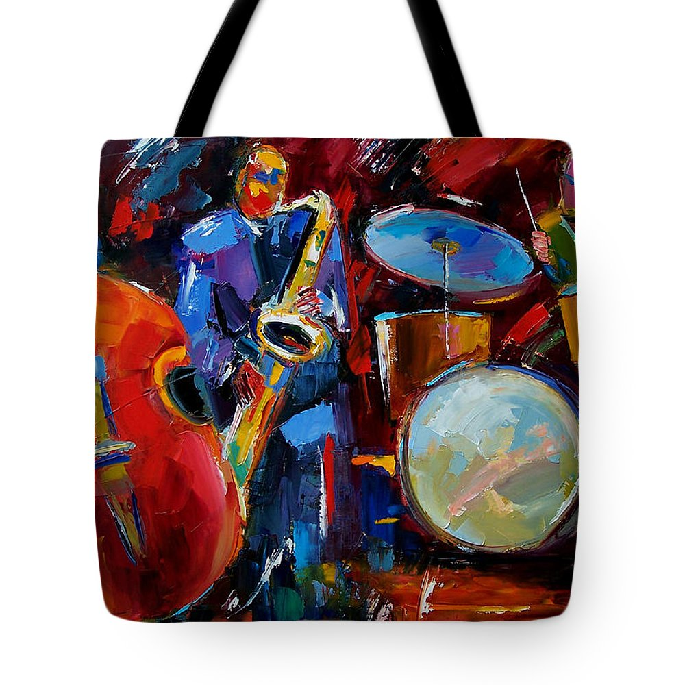 Music Tote Bag featuring the painting Half the Band by Debra Hurd