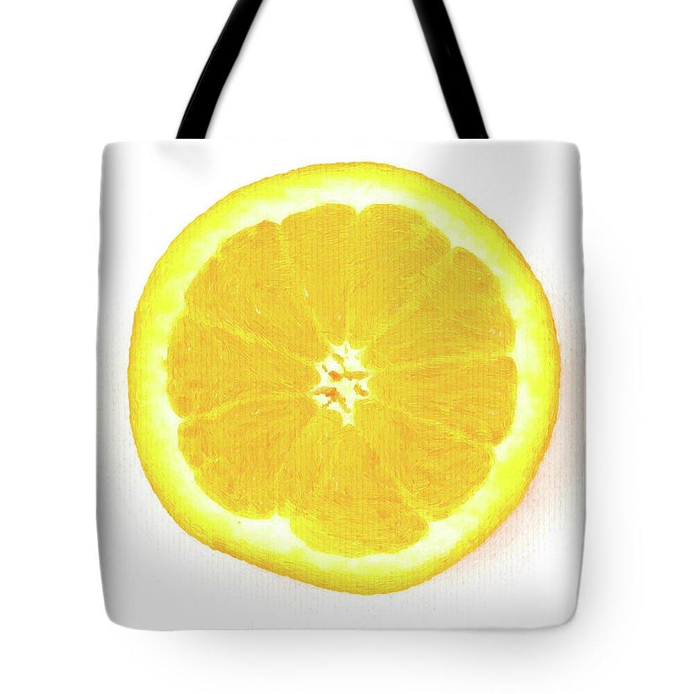 Half Orange Tote Bag featuring the mixed media Half The Orange by Lyriel Lyra