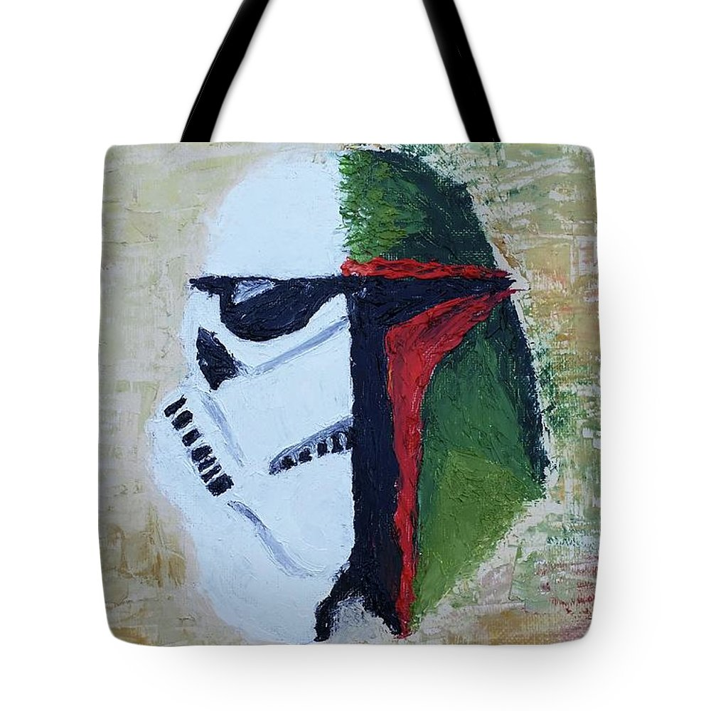 Tote Bag featuring the painting Halfandhalf by Simon Salazar