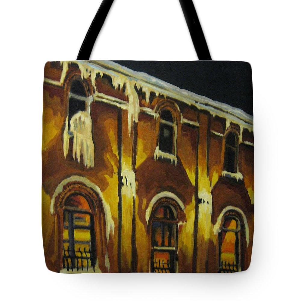 Urban Landscapes Tote Bag featuring the painting Halifax Ale House In Ice by John Malone