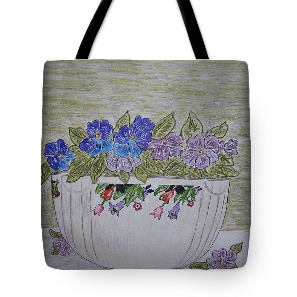 Hall China Tote Bag featuring the painting Hall China Crocus Bowl With Violets by Kathy Marrs Chandler