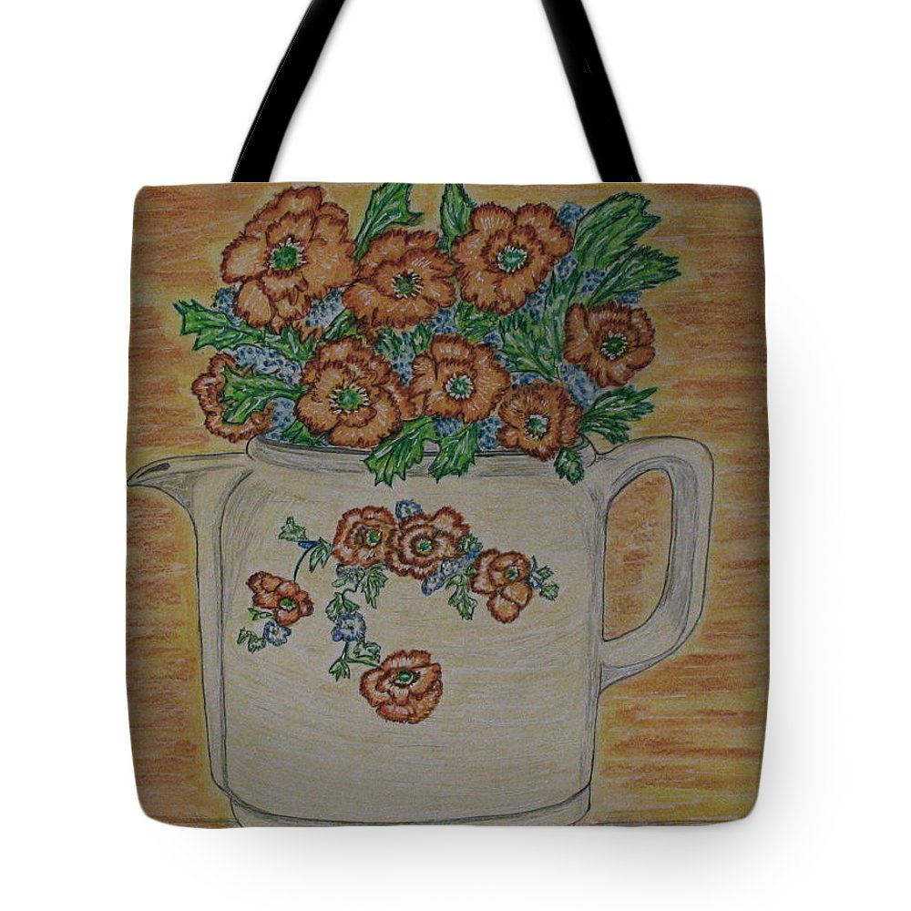 Hall China Tote Bag featuring the painting Hall China Orange Poppy And Poppies by Kathy Marrs Chandler