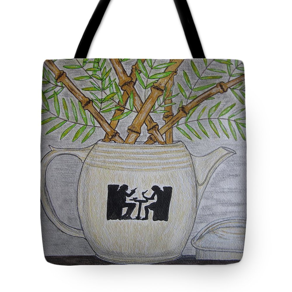 Hall China Tote Bag featuring the painting Hall China Silhouette Pitcher With Bamboo by Kathy Marrs Chandler