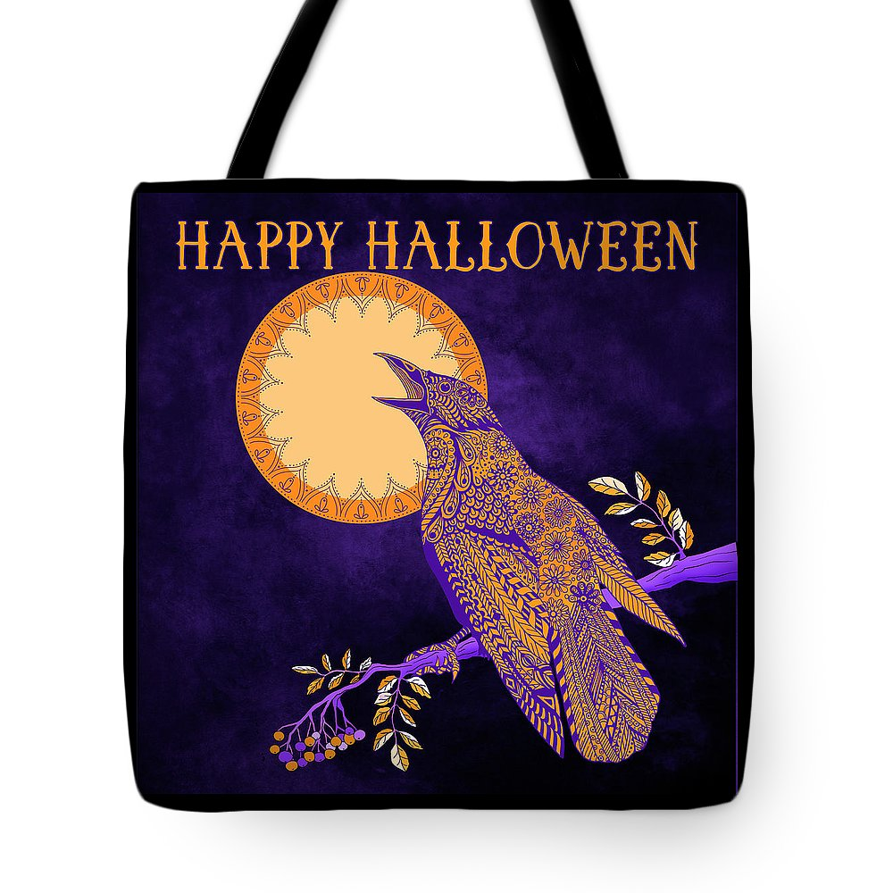 Crow Tote Bag featuring the drawing Halloween Crow And Moon by Tammy Wetzel