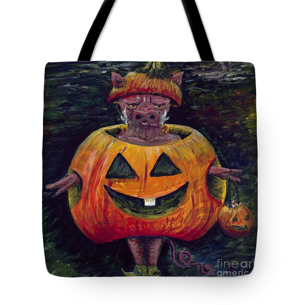 Halloween Tote Bag featuring the painting Halloween Hog by Nadine Rippelmeyer
