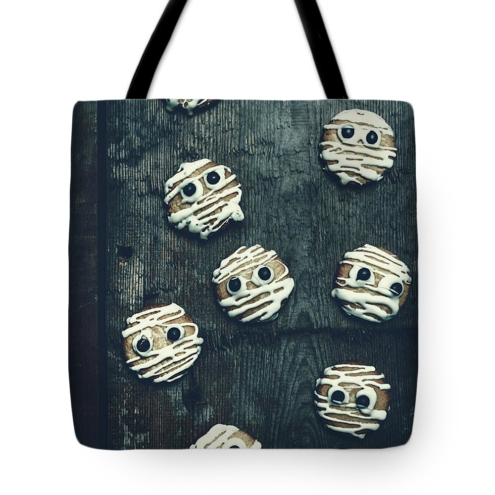 Horror Tote Bag featuring the photograph Halloween Mummy Cookies by Jorgo Photography - Wall Art Gallery