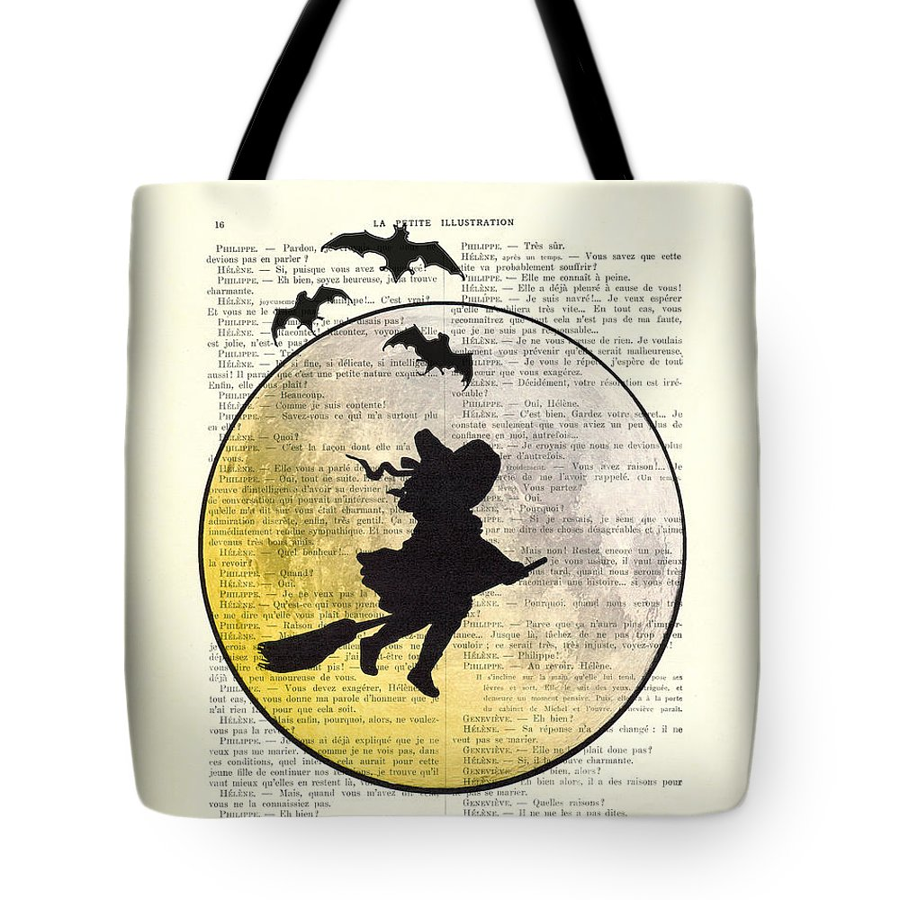 Halloween Tote Bag featuring the digital art Witch Flying With Full Moon by Madame Memento