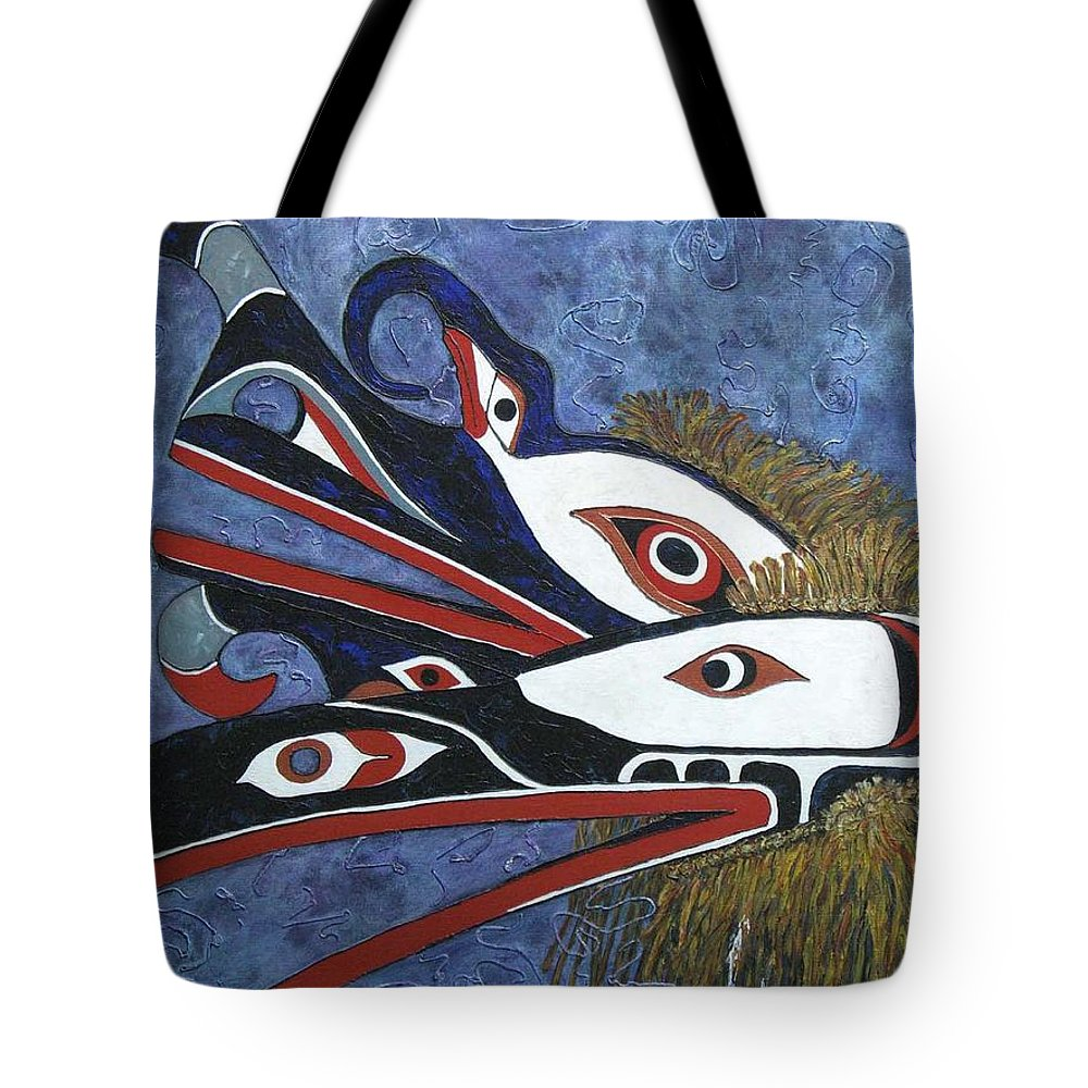 North West Native Tote Bag featuring the painting Hamatsa Masks by Elaine Booth-Kallweit