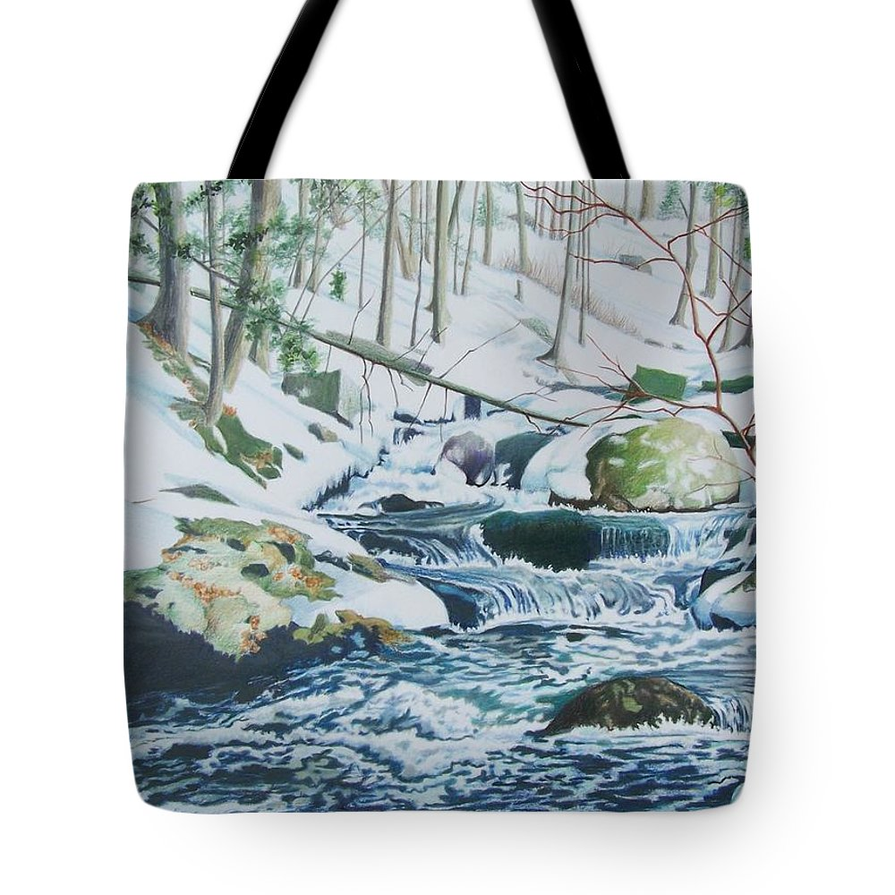 Snow Tote Bag featuring the mixed media Hamburg Mountain Stream by Constance Drescher