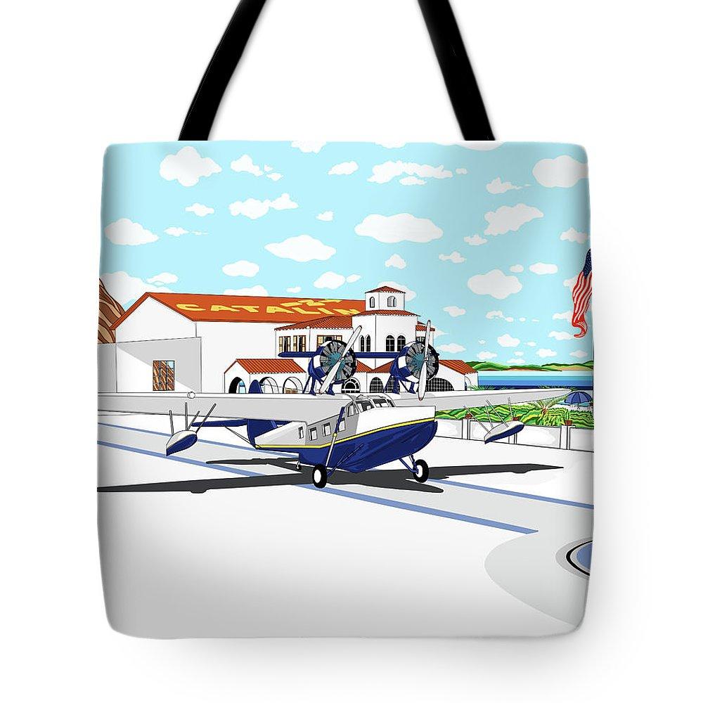 Seaplane Tote Bag featuring the digital art Hamilton Cove by Carlos Martinez