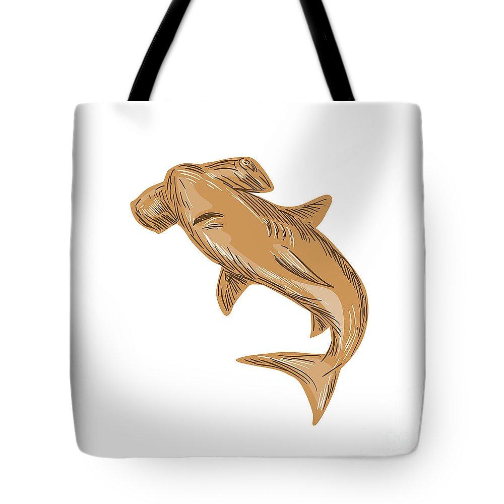 Drawing Tote Bag featuring the digital art Hammerhead Shark Drawing by Aloysius Patrimonio