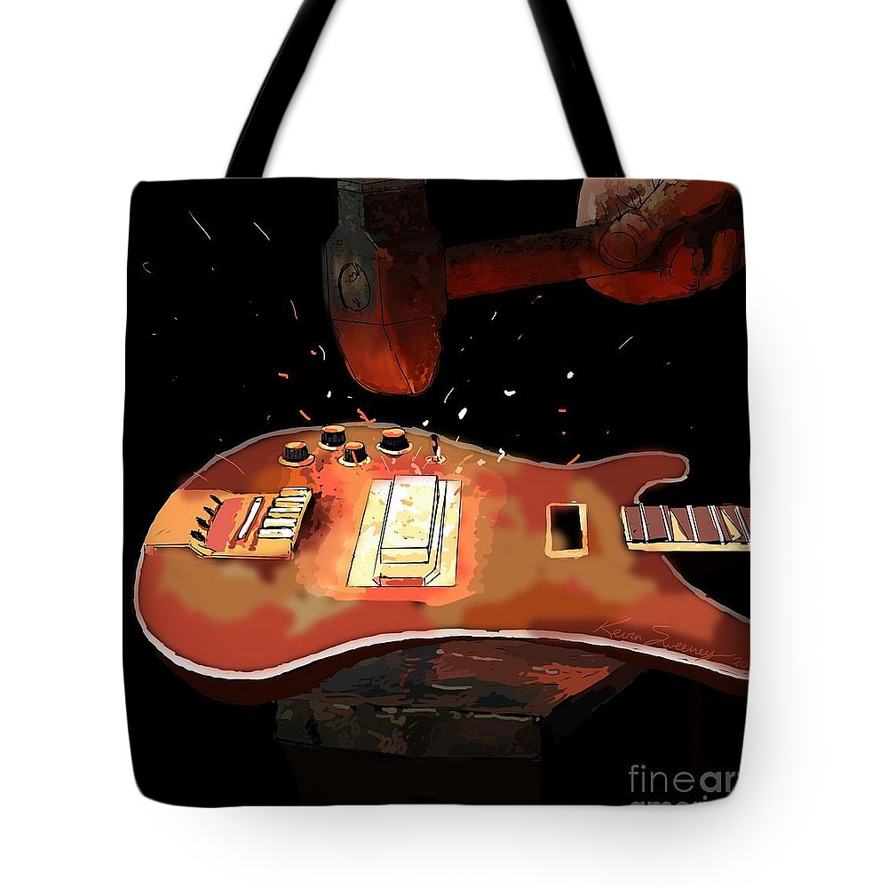 Bass Tote Bag featuring the painting Hammering Out The Bass by Kevin Sweeney