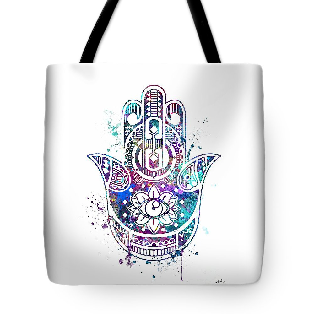 Hamsa Hand Tote Bag For Sale By Svetla Tancheva Print Featuring The Digital Art