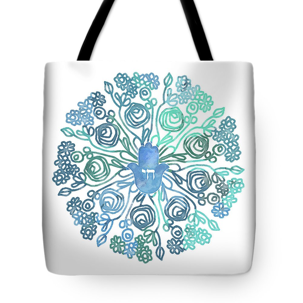Hamsa Tote Bag featuring the mixed media Hamsa Mandala 1- Art By Linda Woods by Linda Woods