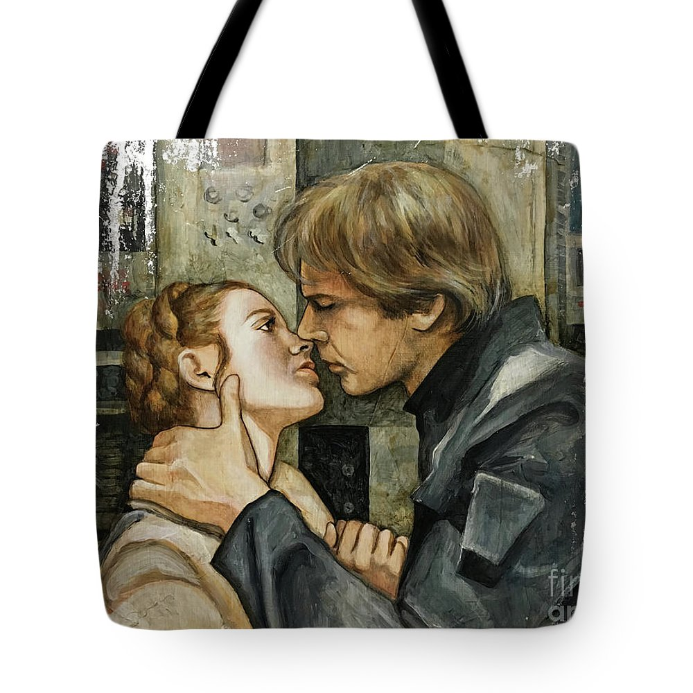 Star Wars Tote Bag featuring the painting Han And Leia by Dori Hartley