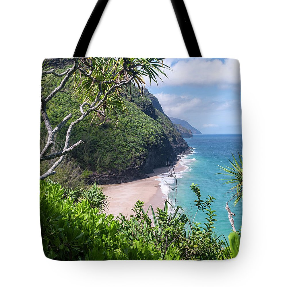 Na Pali Coast Tote Bag featuring the photograph Hanakapiai Beach by Brian Harig