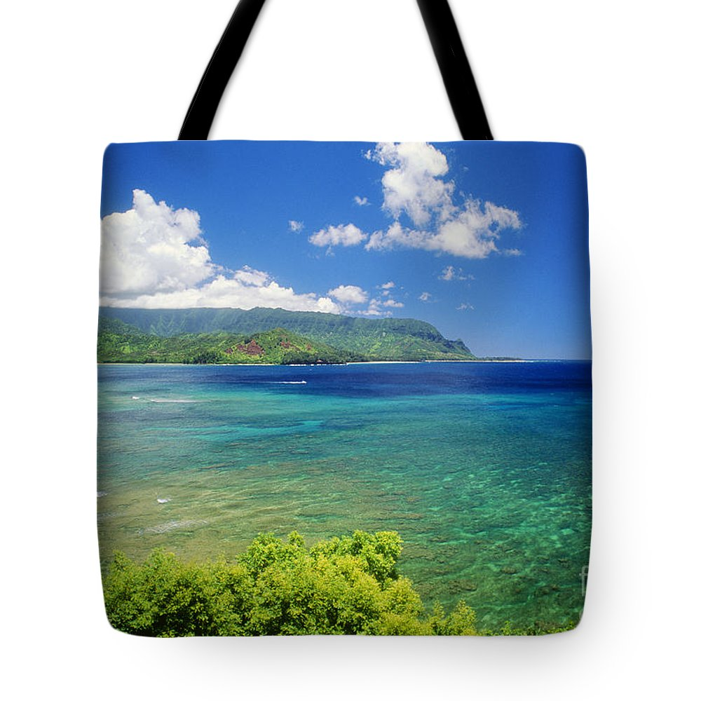 Afternoon Tote Bag featuring the photograph Hanalei Bay And Bali Hai by Allan Seiden - Printscapes
