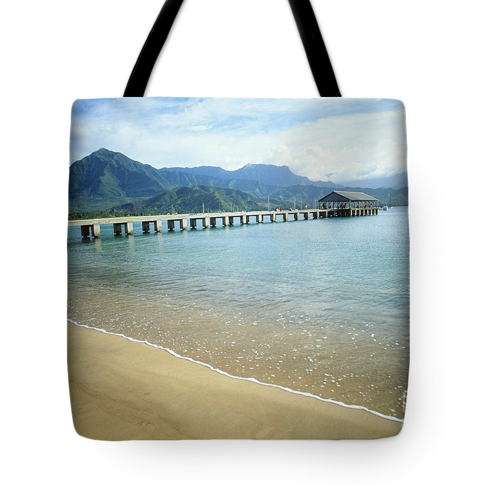 Bali Hai Tote Bag featuring the photograph Hanalei Bay And Pier by Peter French - Printscapes